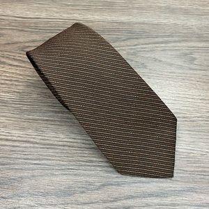 Guy Laroche Brown, Rust & White Stripe Tie
